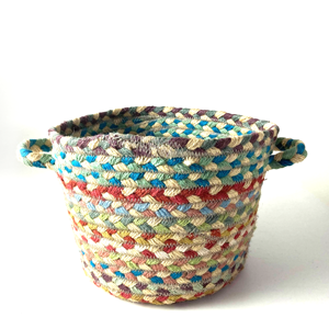 Small Braided Basket Carnival Green
