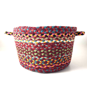 Small Braided Basket Carnival Blue