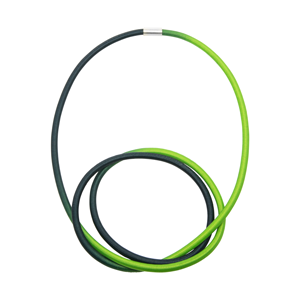 Lime and Green elastic and Silver Knot Necklace