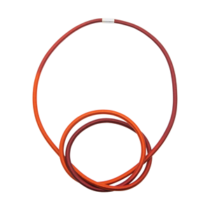 Terracotta and spice Elastic and Silver Knot necklace