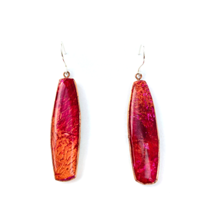 Long Drop Earring Red Resin