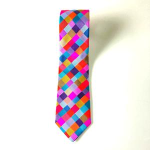 Victoria richards Woven Silk Tie Check Pink