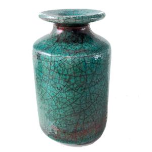 Raku Fired Tall Geen Vase
