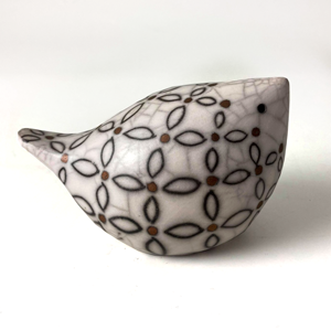 Raku Fired Decorated Medium Ceramic Bird