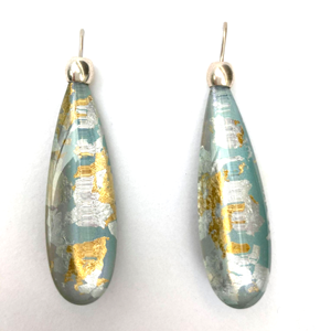 Long Drop Acrylic Earrings Iridescent