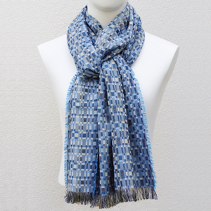 Silk and Wool Woven Long Scarf Rumba Blue