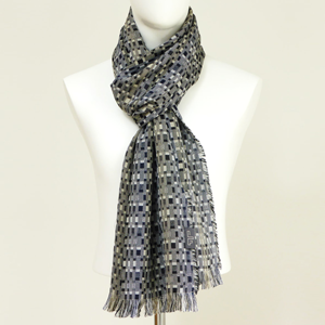 Silk and Wool Long Woven Scarf Charcoal