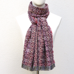 Silk and Wool Long Woven scarf Rumba Ruby