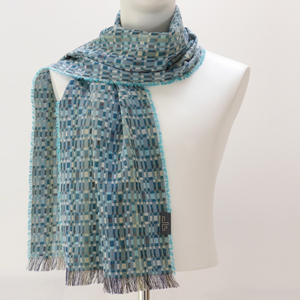 Silk & Wool Woven Rumba Turquoise Short Scarf