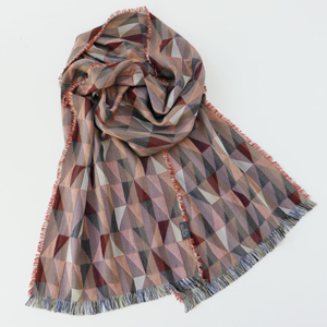 Silk and Wool Tango Russet Long Woven Scarf