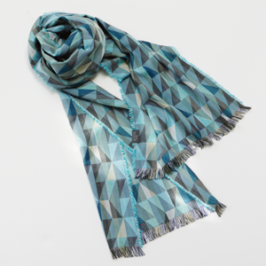 Silk and Wool Tango Turquoise Long Woven Scarf